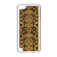 Damask2 Black Marble & Orange Colored Pencil Apple Ipod Touch 5 Case (white) by trendistuff