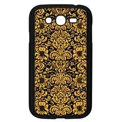 Damask2 Black Marble & Orange Colored Pencil Samsung Galaxy Grand Duos I9082 Case (black) by trendistuff