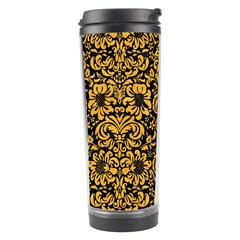 Damask2 Black Marble & Orange Colored Pencil Travel Tumbler by trendistuff