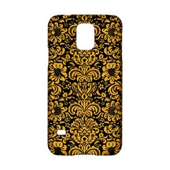 Damask2 Black Marble & Orange Colored Pencil Samsung Galaxy S5 Hardshell Case  by trendistuff
