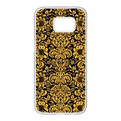 Damask2 Black Marble & Orange Colored Pencil Samsung Galaxy S7 Edge White Seamless Case by trendistuff