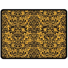 Damask2 Black Marble & Orange Colored Pencil (r) Fleece Blanket (large)  by trendistuff