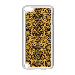 Damask2 Black Marble & Orange Colored Pencil (r) Apple Ipod Touch 5 Case (white) by trendistuff