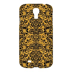 Damask2 Black Marble & Orange Colored Pencil (r) Samsung Galaxy S4 I9500/i9505 Hardshell Case by trendistuff