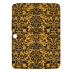 Damask2 Black Marble & Orange Colored Pencil (r) Samsung Galaxy Tab 3 (10 1 ) P5200 Hardshell Case  by trendistuff