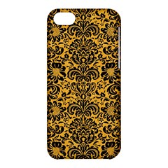 Damask2 Black Marble & Orange Colored Pencil (r) Apple Iphone 5c Hardshell Case by trendistuff