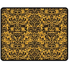 Damask2 Black Marble & Orange Colored Pencil (r) Double Sided Fleece Blanket (medium)  by trendistuff