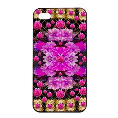 Flowers And Gold In Fauna Decorative Style Apple Iphone 4/4s Seamless Case (black) by pepitasart