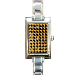 Houndstooth1 Black Marble & Orange Colored Pencil Rectangle Italian Charm Watch by trendistuff