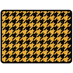 Houndstooth1 Black Marble & Orange Colored Pencil Double Sided Fleece Blanket (large)