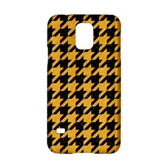 Houndstooth1 Black Marble & Orange Colored Pencil Samsung Galaxy S5 Hardshell Case  by trendistuff
