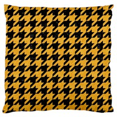 Houndstooth1 Black Marble & Orange Colored Pencil Large Flano Cushion Case (one Side) by trendistuff