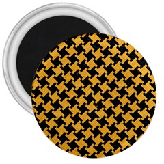 Houndstooth2 Black Marble & Orange Colored Pencil 3  Magnets by trendistuff