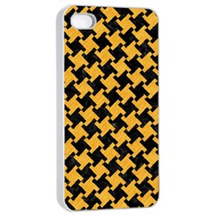 Houndstooth2 Black Marble & Orange Colored Pencil Apple Iphone 4/4s Seamless Case (white)