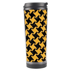 Houndstooth2 Black Marble & Orange Colored Pencil Travel Tumbler by trendistuff