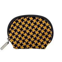 Houndstooth2 Black Marble & Orange Colored Pencil Accessory Pouches (small)  by trendistuff