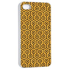Hexagon1 Black Marble & Orange Colored Pencil (r) Apple Iphone 4/4s Seamless Case (white) by trendistuff