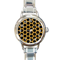 Hexagon2 Black Marble & Orange Colored Pencil Round Italian Charm Watch by trendistuff