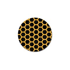 Hexagon2 Black Marble & Orange Colored Pencil Golf Ball Marker by trendistuff