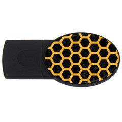 Hexagon2 Black Marble & Orange Colored Pencil Usb Flash Drive Oval (2 Gb) by trendistuff