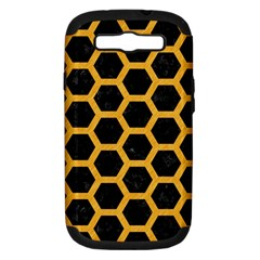 Hexagon2 Black Marble & Orange Colored Pencil Samsung Galaxy S Iii Hardshell Case (pc+silicone) by trendistuff