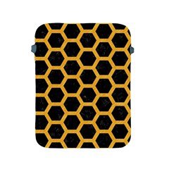 Hexagon2 Black Marble & Orange Colored Pencil Apple Ipad 2/3/4 Protective Soft Cases by trendistuff
