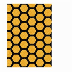 Hexagon2 Black Marble & Orange Colored Pencil (r) Large Garden Flag (two Sides)