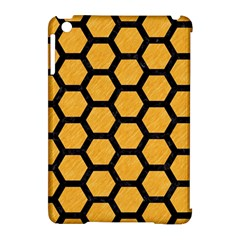 Hexagon2 Black Marble & Orange Colored Pencil (r) Apple Ipad Mini Hardshell Case (compatible With Smart Cover) by trendistuff