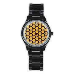 Hexagon2 Black Marble & Orange Colored Pencil (r) Stainless Steel Round Watch by trendistuff