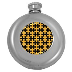 Puzzle1 Black Marble & Orange Colored Pencil Round Hip Flask (5 Oz) by trendistuff