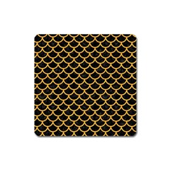 Scales1 Black Marble & Orange Colored Pencil Square Magnet by trendistuff