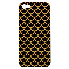 Scales1 Black Marble & Orange Colored Pencil Apple Iphone 5 Hardshell Case by trendistuff