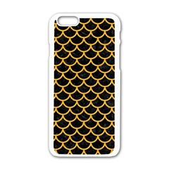 Scales1 Black Marble & Orange Colored Pencil Apple Iphone 6/6s White Enamel Case by trendistuff