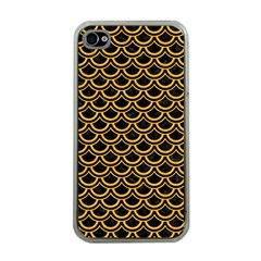 Scales2 Black Marble & Orange Colored Pencil Apple Iphone 4 Case (clear) by trendistuff