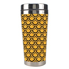 Scales2 Black Marble & Orange Colored Pencil (r) Stainless Steel Travel Tumblers by trendistuff