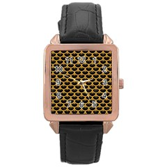 Scales3 Black Marble & Orange Colored Pencil Rose Gold Leather Watch  by trendistuff