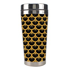 Scales3 Black Marble & Orange Colored Pencil Stainless Steel Travel Tumblers by trendistuff