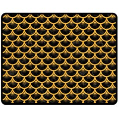 Scales3 Black Marble & Orange Colored Pencil Double Sided Fleece Blanket (medium)  by trendistuff