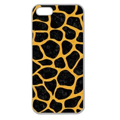 Skin1 Black Marble & Orange Colored Pencil (r) Apple Seamless Iphone 5 Case (clear) by trendistuff