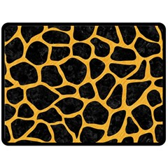 Skin1 Black Marble & Orange Colored Pencil (r) Double Sided Fleece Blanket (large)  by trendistuff