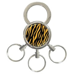 Skin3 Black Marble & Orange Colored Pencil 3 Ring Key Chains by trendistuff