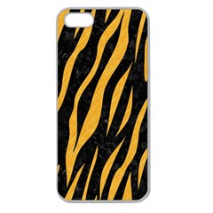 Skin3 Black Marble & Orange Colored Pencil Apple Seamless Iphone 5 Case (clear) by trendistuff