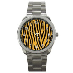 Skin4 Black Marble & Orange Colored Pencil Sport Metal Watch