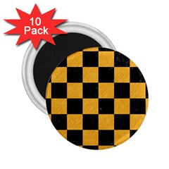Square1 Black Marble & Orange Colored Pencil 2 25  Magnets (10 Pack)