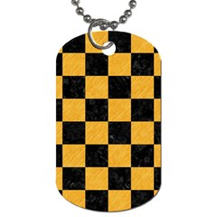 Square1 Black Marble & Orange Colored Pencil Dog Tag (two Sides)