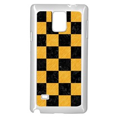 Square1 Black Marble & Orange Colored Pencil Samsung Galaxy Note 4 Case (white) by trendistuff