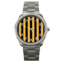 Stripes1 Black Marble & Orange Colored Pencil Sport Metal Watch
