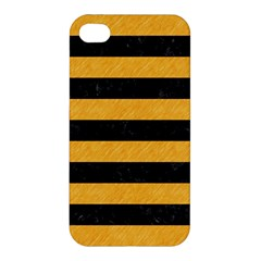 Stripes2 Black Marble & Orange Colored Pencil Apple Iphone 4/4s Hardshell Case by trendistuff