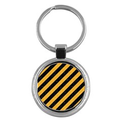 Stripes3 Black Marble & Orange Colored Pencil Key Chains (round)  by trendistuff