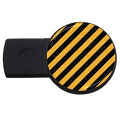 Stripes3 Black Marble & Orange Colored Pencil Usb Flash Drive Round (4 Gb) by trendistuff